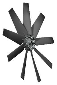 9-blade Type 4 hovercraft fan with polyamide heavy duty blades